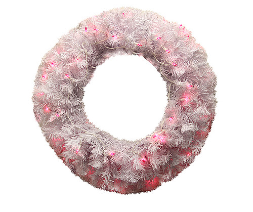 Pre-Lit White Cedar Pine Artificial Christmas Wreath - 24-Inch, Pink Lights - IMAGE 1