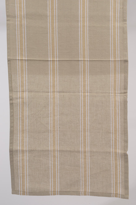 """55"""" x 15.75"""" Naturelle et Terreuse Brown and White Striped Table Runner - IMAGE 1"""