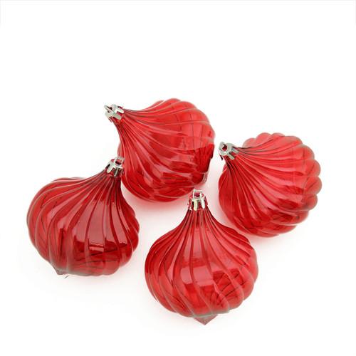 "4ct Red Shatterproof Transparent Christmas Onion Drop Ornament Set 4.5"" (110mm) - IMAGE 1"