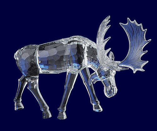 """Pack of 4 Clear Icy Crystal Decorative Christmas Moose with Head Down Figurines 7.3"""" - IMAGE 1"""