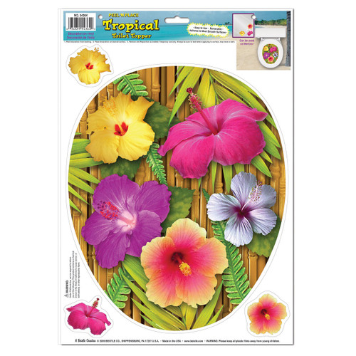 """Club Pack of 12 Vibrantly Colored Tropical Hibiscus Toilet Topper Peel 'N Place Decors 17"""" - IMAGE 1"""