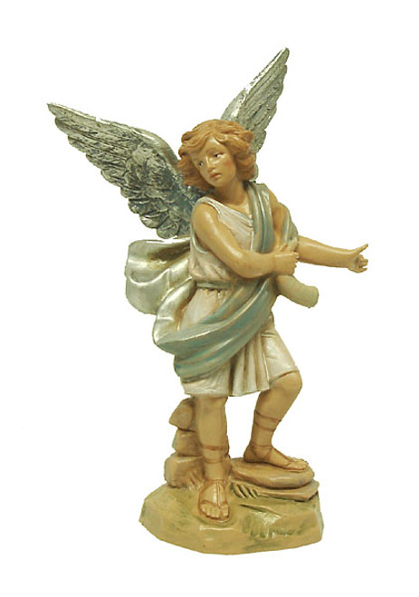 "5.75"" Blue and Cream White Hand Painted Raphael Angel Nativity Figurine - IMAGE 1"