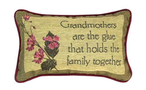 """12.5"""" Pink and Green """"Grandmothers Are the Glue"""" Floral Rectangular Throw Pillow - IMAGE 1"""