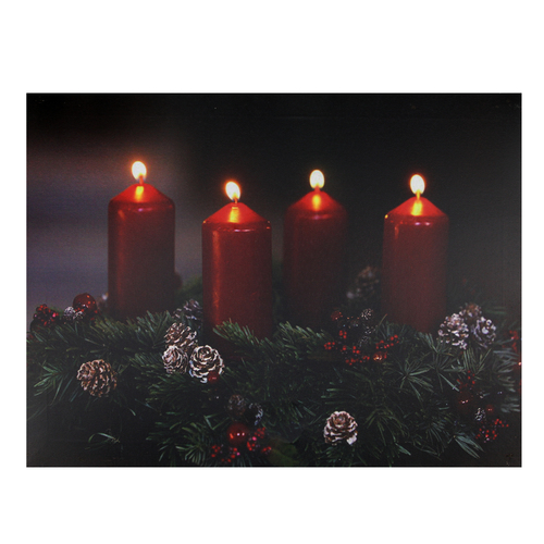 """Pre-Lit Red and Black LED Flickering Candle Christmas Wall Art 12"""" x 15.75"""" - IMAGE 1"""