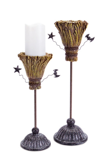 """Pack of 2 Brown and Gray Glittering Witch Broomstick Halloween Pillar Candle Holders 14"""" - IMAGE 1"""