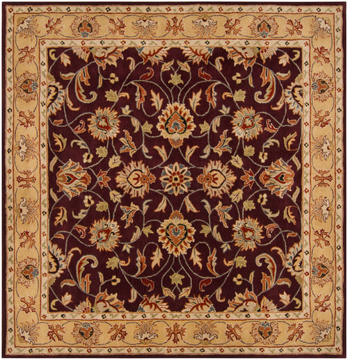 6' x 6' Green and Brown Contemporary Hand Tufted Floral Square Wool Area Throw Rug - IMAGE 1