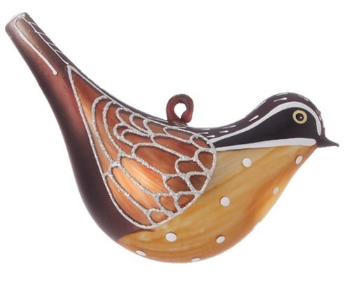 """5"""" Gold and Brown Country Cabin Glittered Bird Christmas Ornament - IMAGE 1"""