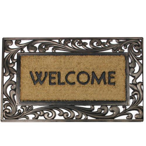 "Scroll Design Rectangular Welcome Coir Door Mat 30"" x 18"" - IMAGE 1"