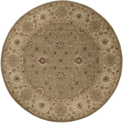 8' Olive Green and Brown Contemporary Round Wool Area Throw Rug - IMAGE 1