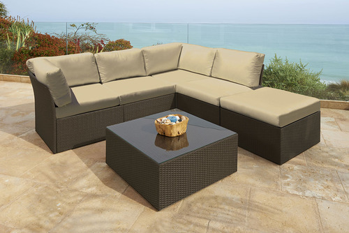 "6pc Beige Newport Resin Wicker Outdoor Furniture Sectional Sofa 29"" - IMAGE 1"