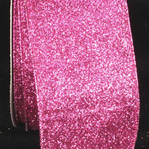 """Sparkling Pink Glitter Wired Craft Ribbon 3"""" x 40 Yards - IMAGE 1"""