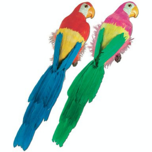 """Pack of 6 Blue and Green Feathered Luau Parrots 20"""" - IMAGE 1"""