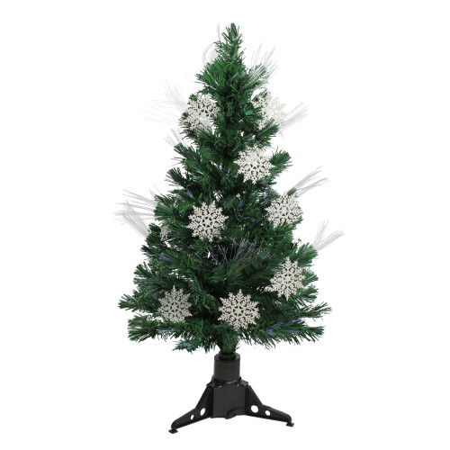 3' Pre-Lit Fiber Optic Artificial Christmas Tree with White Snowflakes - Multi-Color Lights - IMAGE 1