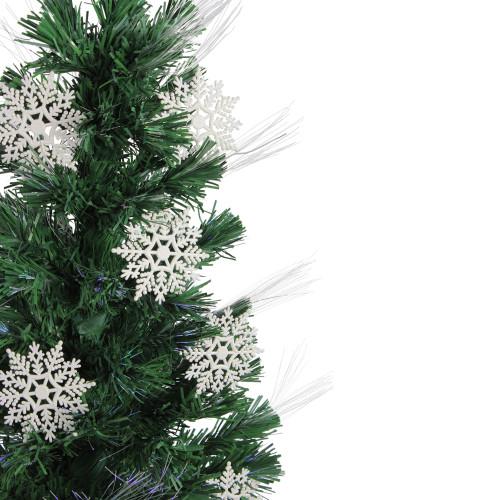 Multi Color Pre Lit Christmas Trees: 3' Pre-Lit Fiber Optic Artificial Christmas Tree With