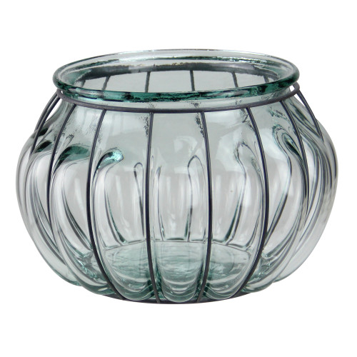 """10.25"""" Tea Garden Hand-Made Transparent Recycled Spanish Glass Over-Sized Pillar Candle Holder - IMAGE 1"""