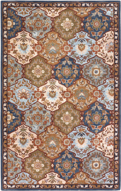4' x 6' Olive Green and Blue Floral Hand Tufted Wool Area Throw Rug - IMAGE 1