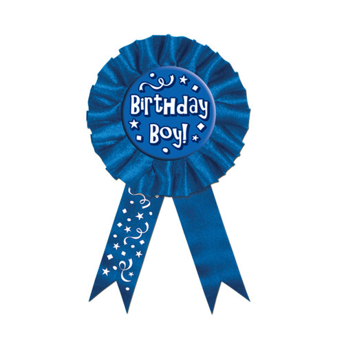 """Pack of 6 Blue and White """"Birthday Boy!"""" Award Ribbons Party Favors 6.5"""" - IMAGE 1"""