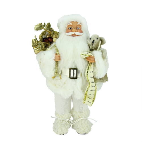 "12"" White and Gold Nordic Santa Claus Christmas Tabletop Figurine - IMAGE 1"