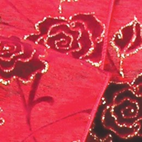 "Red and Gold Floral Wired Craft Ribbon 3"" x 20 Yards - IMAGE 1"