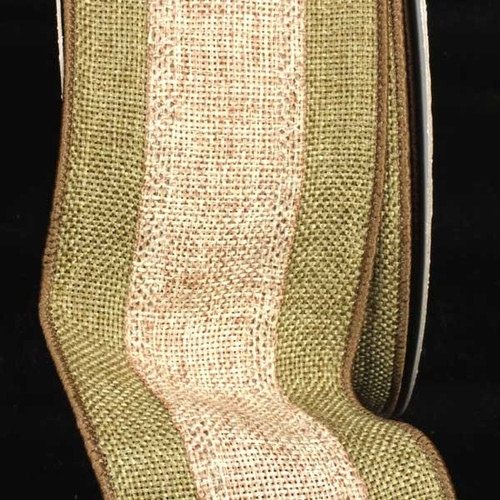 """Green and Tan Striped Burlap Wired Craft Ribbon 3"""" x 20 Yards - IMAGE 1"""