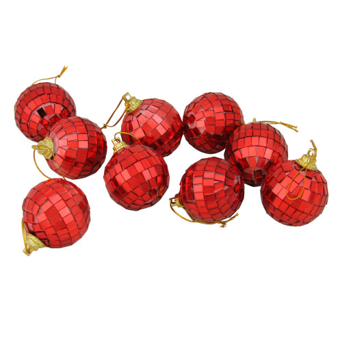 "9ct Red Mirrored Glass Disco Christmas Ball Ornaments 1.5"" (40mm) - IMAGE 1"