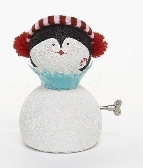"""8.75"""" White and Blue Animated Musical Penguin Face Christmas Figurine - IMAGE 1"""