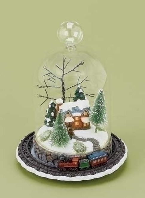 "8"" Clear LED Light Rotating Train and Winter Scene Christmas Tabletop Decor - IMAGE 1"
