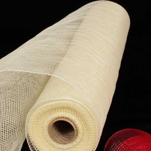 """Antique Ivory Decorating Mesh Craft Ribbon 21"""" x 60 Yards - IMAGE 1"""