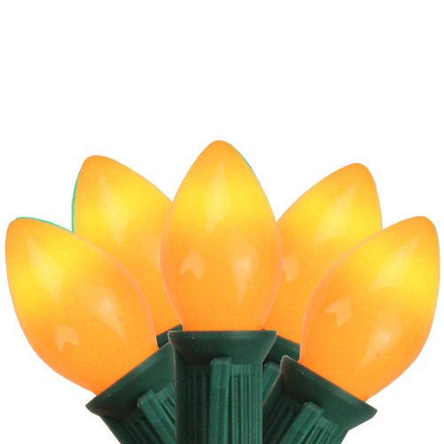 25-Count Orange Opaque C7 Mini Christmas Light Set, 24ft Green Wire - IMAGE 1