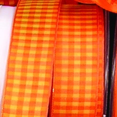 """Orange Block Print Wired Craft Ribbon 1.5"""" x 54 Yards - IMAGE 1"""