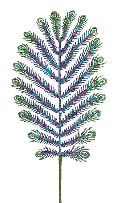 "30"" Green and Blue Glitter Peacock Feather Artificial Christmas Spray - IMAGE 1"