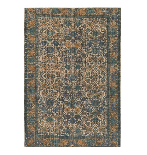 2' x 3' Floral Melon Orange and Cadet Blue Hand Woven Area Throw Rug - IMAGE 1