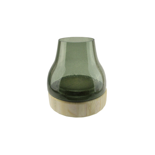 """9.75"""" Storm Gray Bubble Glass Pillar Candle Holder with Wooden Base - IMAGE 1"""