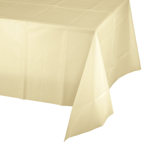 Club Pack of 24 Ivory Disposable Banquet Party Table Covers 108' - IMAGE 1