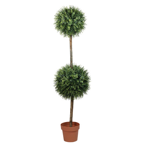 4.5' Potted Two-Tone Artificial Boxwood Double Ball Topiary Tree - Unlit - IMAGE 1