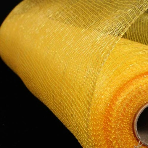 "Yellow and Gold Decorating Mesh Craft Ribbon 21"" x 60 Yards - IMAGE 1"