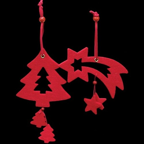 Club Pack of 18 Elegant Red Tree And Shooting Star Felt Ornaments - IMAGE 1