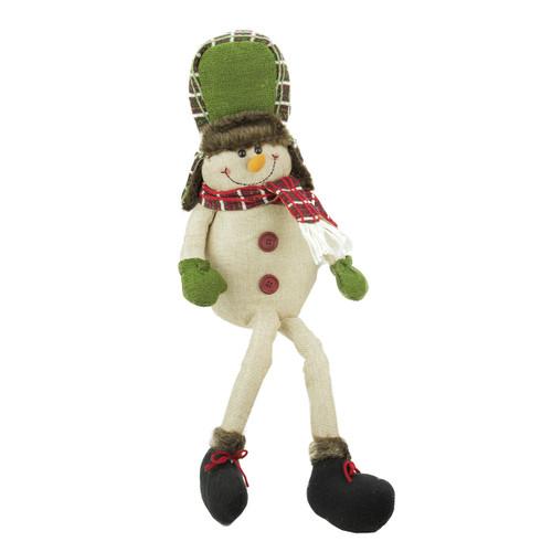 "25"" Plush Plaid Snowman Hat Shelf Sitter Christmas Figurine - IMAGE 1"