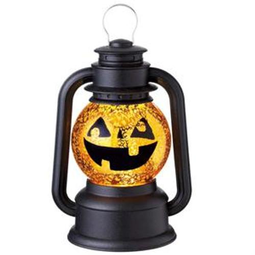 "9.5"" Black Speckled Pumpkin Lighted Glittering Snow Dome Lantern Halloween Tabletop Decor - IMAGE 1"