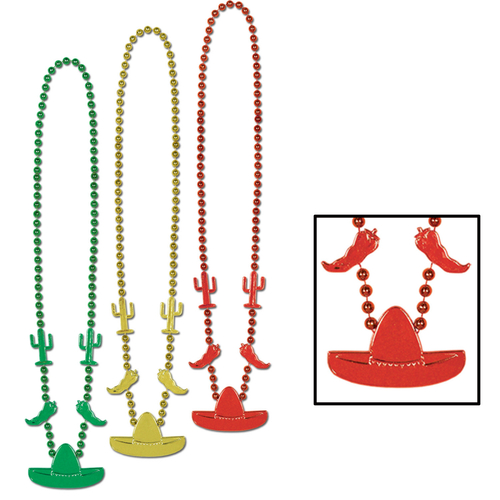"""Club Pack of 12 Yellow and Red Beaded Mexican Fiesta Party Necklaces 33"""" - IMAGE 1"""