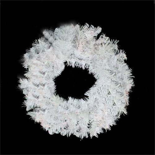 """24"""" White Iridescent Mixed Pine Artificial Christmas Wreath - Unlit - IMAGE 1"""