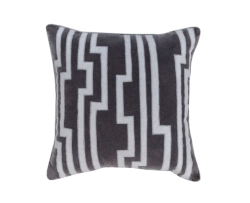 """20"""" Black and White Decorative Square Throw Pillow - Down Filler - IMAGE 1"""