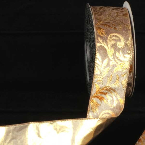 """Beige and Gold Scroll Lame Back Wired Craft Ribbon 2.5"""" x 20 Yards - IMAGE 1"""