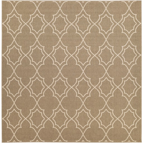 8.75' x 8.75' Brown and Beige Contemporary Outdoor Area Throw Rug - IMAGE 1