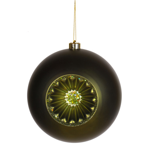 "Matte Olive Green Retro Reflector Shatterproof Christmas Ball Ornament 8"" (200mm) - IMAGE 1"