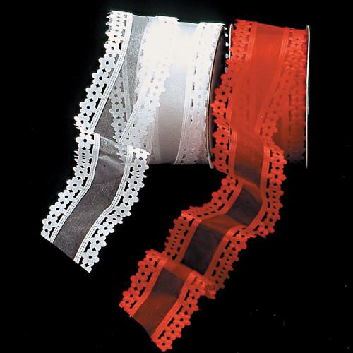 "White Flower Edge Wired Craft Ribbon 2.5"" x 20 Yards - IMAGE 1"