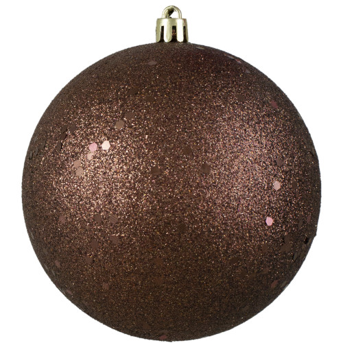 "Mocha Brown Holographic Glitter Shatterproof Christmas Ball Ornament 4"" (100mm) - IMAGE 1"