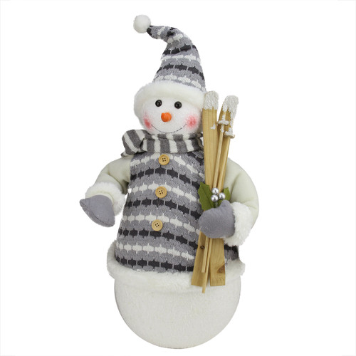 "20"" Alpine Chic Snowman with Gray and White Jacket Christmas Decoration - IMAGE 1"