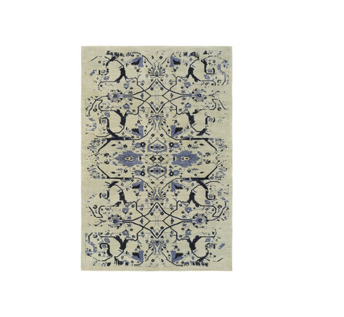 4' x 6' Denim Blue and Pale Gray Contemporary Hand Knotted Rectangular Wool Area Throw Rug - IMAGE 1