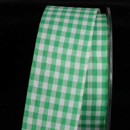 "Green and White Gingham Cut Edge Ribbon 1.5"" x 132 Yards - IMAGE 1"